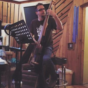 Chris Kringel tearing it up on the bass. Well, one of many basses. He brought about twelve to the studio. It's good to have options.
